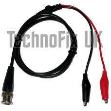BNC male to crocodile clips test lead for signal generator oscilloscope etc.