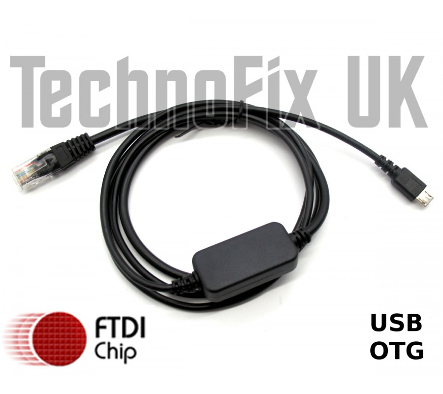 FTDI Micro USB B OTG to RJ45 serial/RS232 console cable for