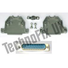 DB25 male DB25M plug connector + shell/shroud/hood parallel, serial, COM port