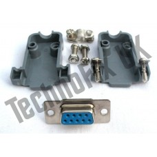 DB9 female DB9F plug connector + shell/shroud/hood serial, COM port
