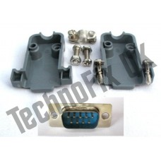 DB9 male DB9M plug connector + shell/shroud/hood serial, COM port