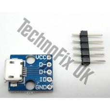 Micro USB B female breakout board (Raspberry Pi WRT54g PIC AVR Arduino)