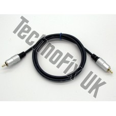 1m screened linear amp switching cable phono RCA male to male