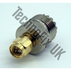 SO239 UHF female to SMA male adapter (UHF F to SMA M)